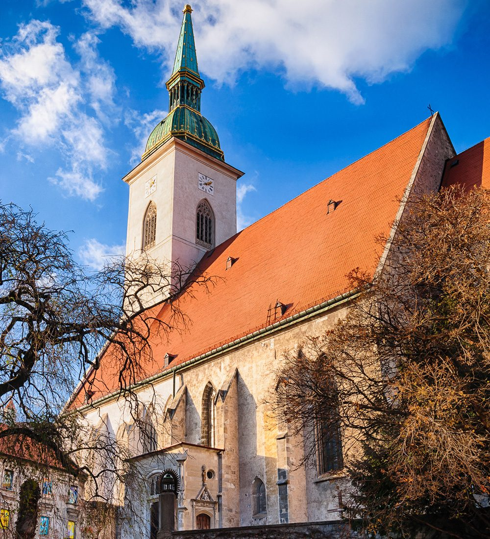St. Martin 's cathedral in Bratislava on autumn sunny day
